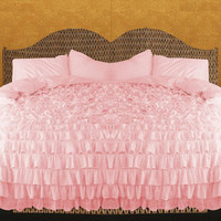 Pink Ruffle Bedspread Set 3pc, Egyptian Cotton Bedding 1000 Thread Count