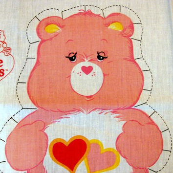 The Care Bears Fabric Panel 1980s Care Bear Cotton Fabric Sewing Panel Stuff and Sew Pillow LOVE A LOT BEAR