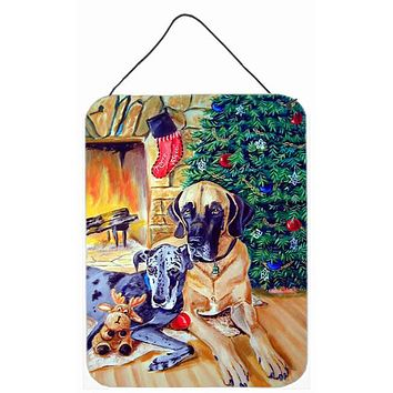 Harlequin and Blue Great Danes Under the Christmas Tree Wall Hanging Prints