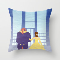 Disney - Belle & Beast Throw Pillow by Jessica Slater Design & Illustration