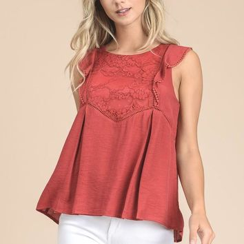 Flutter Sleeve Peplum Top With Lace In Tomato