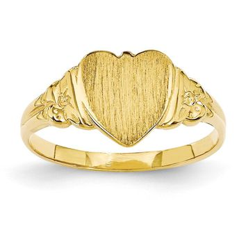 14k Yellow Gold Heart Signet Ring