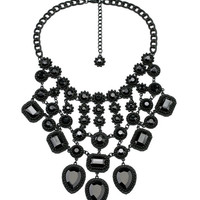 Black Gem Statement Necklace