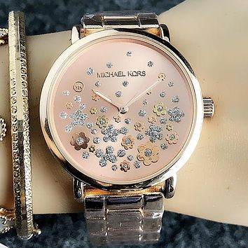 MK Michael Kors New Popular Quartz Movement Business Wristwatch Watch Full Rose Golden I-Fushida-8899