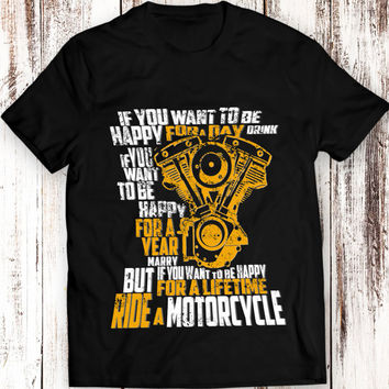 Ride a Motorcycle T Shirt Women Men Gift Idea Present Shovel Engine Harley Davidson Motocycle Garment Apparel T-Shirt