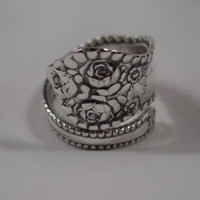 A Spoon Rings Plus Beautiful Wrapped Spoon Ring Size 12 With Roses Vintage Hippie Rings t267