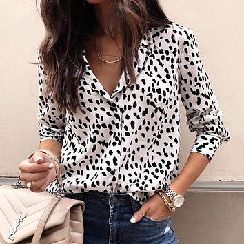 Long Sleeve Leopard Blouse V neck Shirt Ladies OL Party Top Dames Streetwear