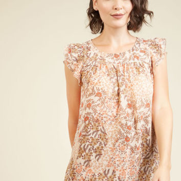 Ruffle Foraging Top in Enoki | Mod Retro Vintage Short Sleeve Shirts | ModCloth.com