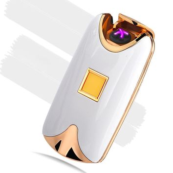 New Fashion Hot Selling USB Electronic Dual Arc Metal Flameless fingerprint Rechargeable Windproof Cigarette Lighter