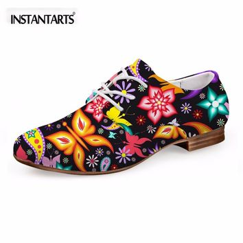 INSTANTARTS Women's Flats Casual Leather Shoes for Women Breathable Ladies Lace-up Sunflower Oxfords Butterfly Floral Flats Shoe