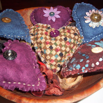 Country HEART BOWL FILLERS, Ornaments, Handmade Primitive, Rustic, Shabby Chic, Cottage Chic, Scented in Lavender, Vanilla, or Cinnamon
