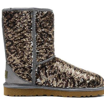 ESBON UGG 1003353 Flipped Over Sparkles Women Men Fashion Casual Wool Winter Snow Boots Leopard