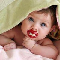 Two Front Teeth (Red Lips) Baby Pacifier (Discontinued by Manufacturer)