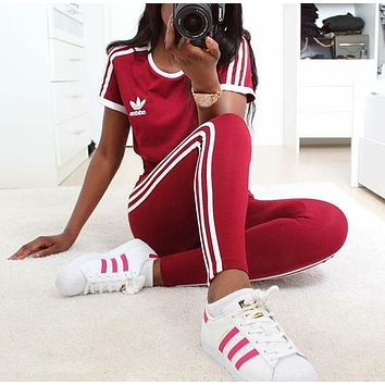 """ADIDAS""stripe sports suit two piece Suit Top With Trouser Red"