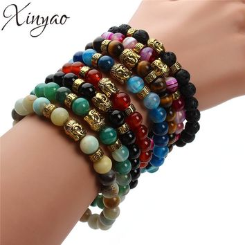 XINYAO 2017 Natural Black Agates Lava Tiger Eye Stone Beads Bracelet Antique Gold/Silver Color Buddha Head Bracelets Men Women