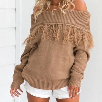 CREYOND Autumn and winter fashion one word shoulder color pure tassel loose sweater long sleeves women