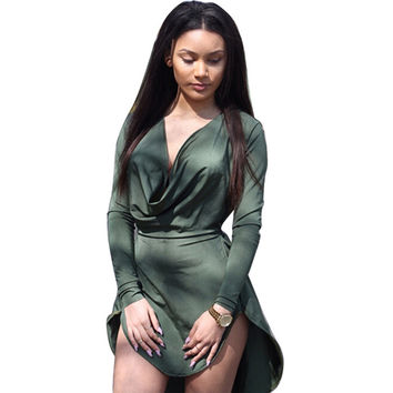 Women Summer Casual Long Sleeve Party Night Club Mini Dress