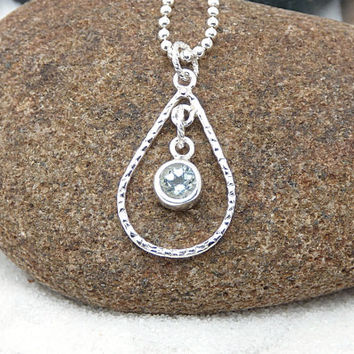 Topaz Teardrop Necklace, Sterling Silver Teardrop Pendant, Silver Chandelier Necklace, Pale Blue Topaz Gemstone Jewelry