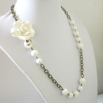 White Day Of The Dead Necklace Sugar Skull Wedding Jewelry Rose