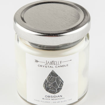 JAXKELLY Obsidian Crystal Candle | Decor
