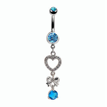 New Charming Dangle Crystal Navel Belly Ring Bling Barbell Button Ring Piercing Body Jewelry = 4672694724