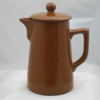 A wartime coffee pot in brown glaze by Lovatts Pottery of Langley Mill Derbyshire. 1940s. WWII Coffee Pot. Retro kitchenware / tableware