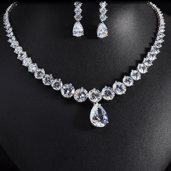 Luxury brilliant AAA cubic zirconia  fashion style earring and necklace jewelry set