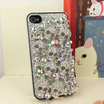 Bling iPhone 4 Case Gray Glitter Plastic Hard Case Studded iPhone Case Studded iPhone 4s Silver Skull iPhone Case Skull iPhone 4 Case