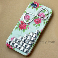 Iphone 5 Case, One Direction Iphone 5 Case, Antique Silver Stud Iphone 5 Case, Flower Iphone 5 Case Cover