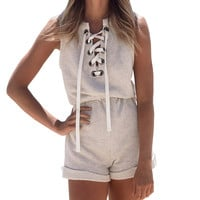 Rompers Womens Jumpsuit Sexy Lace Up Gray Overalls Cuffed Hemline Jumpsuits Elegant