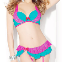 Blue with Pink Lace Bra and Panty Skirt Set