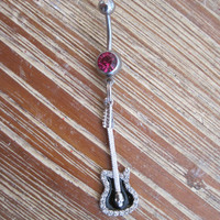 Belly Button Ring - Body Jewelry - Silver and Black Rhinestone Guitar with Dark Pink Gem Belly Button Ring