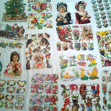 Huge Lot Vintage Victorian Scraps Scrap Papers German West Germany Roses Children Animals Christmas Santa Claus Shabby Chic Scrapbooking