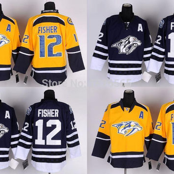 Factory Outlet, Cheap Men's Nashville Predators 12 Mike Fisher Jersey Black White RED Lacing Neck Vintage Sewn authentic Hockey Jerseys