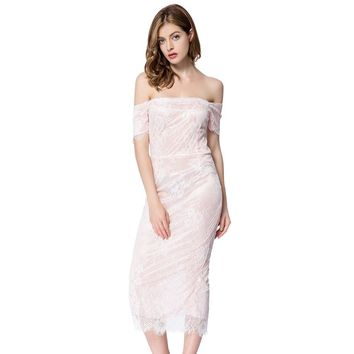 Sexy Off The Shoulder Short Sleeve Lace Dress For Women