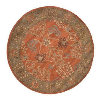 Jaipur Rugs Classic Arts And Crafts Pattern Orange/Brown Wool Area Rug PM51 (Round)