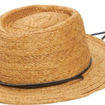 San Diego Hat Co. Men's Straw Gambler Hat with Leather Chin Cord, Natural, One Size