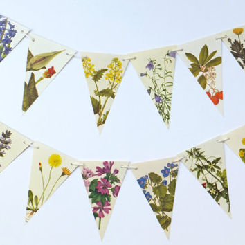 Vintage Flowers Garland, Botanical Garland, Floral Bunting, eco-friendly banner, wedding pennants, rustic wedding decor, natural wedding