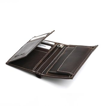 391007 Hipster Wallet with Flap in Dark Brown Leather | Style n Craft