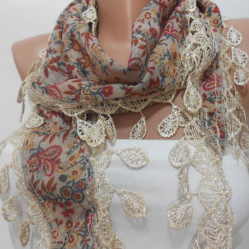 Multicolor Floral Scarf Shawl, Brown Beige Two Sided Cowl Scarf with Lace Edge, Women's Fashion Accessory, Gift For Mom For Her, ScarfClub
