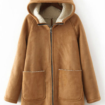 Khaki Hooded Pockets Zipper Long Sleeve Coat