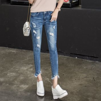 2018 Hole Middle Waist Elastic Skinny Pencil Lady Pants Ankle Length Blue Color Woman Jeans pearl High Quality