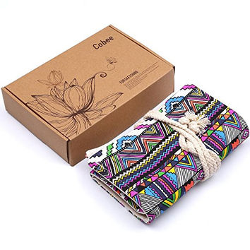 Pencil Case Cobee Canvas Colored Pencil Roll Up Wrap for Artist and Student, Bohemian Color (48)