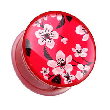 Sakura Cherry Blossom Single Flared Ear Gauge Plug