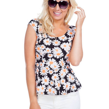 Cap Sleeve Daisy Print Peplum Top W/ Back Bow