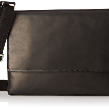 Visconti Visconti Distressed Leather Messenger Bag - 3/4 Flapover Oil Black