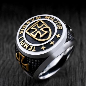 Medieval Crusaders Knights Ring Men's Vintage Retro Cross Templar Armor Shield Punk Biker Rings Retro Gold Silver Ring Man Jewel