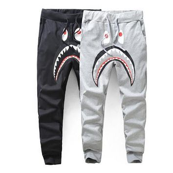 PALACE black half and half joint joggers 2017 new Hip hop pants Men Harajuku HIGH FASHION streetwear Asian size! shark Cartoon