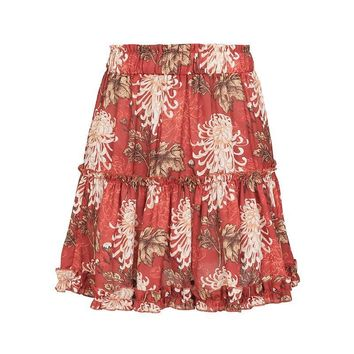 BerryGo Bohemian Tiered Ruffle Flower Print Mini Skirt
