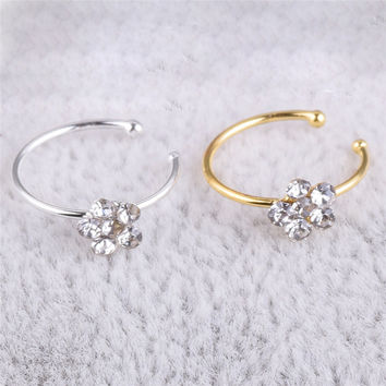 1 pcs Stainless Steel Circular  Nose Ring Circular Punk Small Thin Clear Rhinestone Flower Lip Ear Nose Clip On Fake Piercing